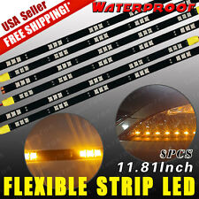 6X Amber Yellow Flexible Waterproof Strip Light 15-LED 30cm 5050 Car Motor US