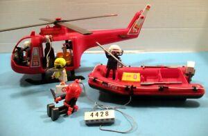 PLAYMOBIL - Pompiers - hélicoptère - bateau de sauvetage - réf 4428