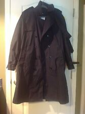 Men's Military Style Trench Coat Dark Navy Blue Size 40 Long