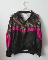 Vtg 90s Black Pink Windbreaker Track Jacket Size M Paisley Rave Color Block