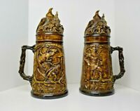 "Vtg Pair of 14"" Ceramic Stein Mug with Wizard Lid and Medieval Dragon Scene"