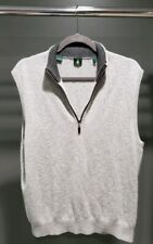 Robert Talbott 100% Cashmere Quarter Zip Sweater Vest Heathered Gray Mens Size M