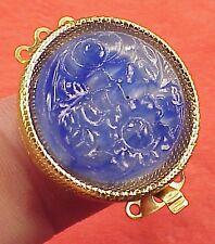 Vintage 26mm Necklace Clasp Lapis Lazuli Glass Connector 3 Str  High Art Deco