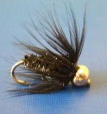 10 Bead Head Black and Peacock Snail Fly