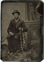 Man with a Horse Whip - antique Tintype Photo