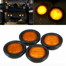 "4X Amber 2"" LED Side Marker Light Round Blinker For Truck Trailer Van Waterproof"