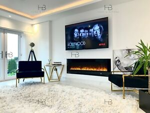 5 Sizes - LED White Black Grey Wall Recessed Insert Wide Electric Fire 2021