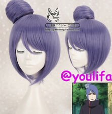 Konan Anime Cosplay Costume Wig Short Straight Dark Purple with bun Y78