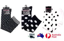 Womens Girls Knee Hi Socks Polka Dots Black/White  Novelty Cotton Size 2-8