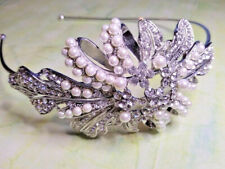 Crystal White Pearl Swirl Leaf Hairband Side Tiara Fascinator Prom Wedding