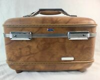 Vintage American Tourister Train Case Cosmetic Tray Key Mirror Brown Suitcase