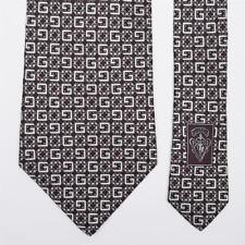 GUCCI TIE G Trellis on Brown Classic Woven Silk Necktie