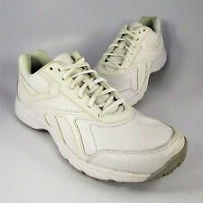 e81d1377a2a752 Reebok Work N  Cushion Oil   Slip Shoes Mens Size 8.5M White Leather  Sneakers