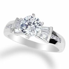 Ladies 14K  White Gold Solid Round Clear CZ 1.0ct Solitaire Ring Size 4-10