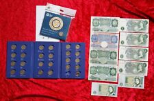 £ 1 Pound Coin Album Completo ultimo round Pound Edimburgo + £ 1 BANCONOTA Collection