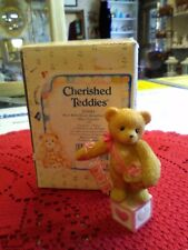 Cherished Teddies-Bear With Heart Blocks Mini Figure #203084