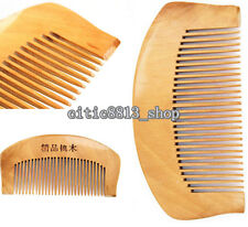 Quality! Natural Wide Tooth PeachWood No-static Massage Hair Wood Comb On Sale C