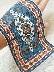 Vintage Dollhouse Miniature Artisan Carpet Rug Micro Bead Middle Eastern Design