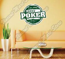 "Poker Texas Hold'em Chips Grunge Stamp Wall Sticker Room Interior Decor 25""X20"""