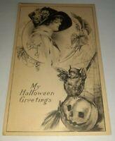 Antique HALLOWEEN POSTCARD, BLACK & WHITE Kathryn Elliott Fairman Co. Unposted