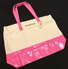 BNWT Victoria's Secret Pink Canvas Beach Tote Bag Large Shoppers Weekend Bag