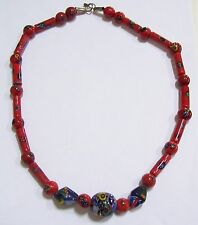 Vintage Chunky RED & BLUE Millefiori Glass Necklace