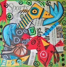 Bird Dog Shark Collage Outsider Art Print 8x8 by Artist Kimberly Helgeson Sams