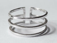 Sovats 925 Sterling Silver Midi Find Adjustable Ring Double Line Band Size 5-12