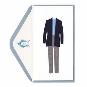 Rare Papyrus Men's or Womens Fabric & Stitching Blue Suit Blank Card by Zang Toi