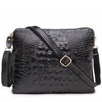 Women's Genuine Cow Leather Crocodile Messenger Bags Small Shoulder Bag Handbag