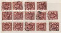 GB KGV 1934 1 1/2d Collection of 14 Watermark Sideways VFU J444