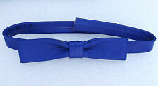 Royal blue English bow tie Real leather Collar size 15-16 easy fastening