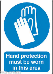 HAND PROTECTION MUST BE WORN SIGN 30CM X 25CM