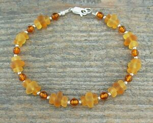 'Sea Glass' & Amber Anklet or Bracelet with Natural Gemstone and 'Beach Glass'