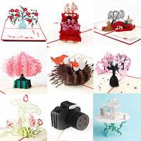 3D Luxury Handmade Pop Up Christmas Wedding Birthday Invitations Greeting Card