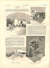 Port de Tanger mosquée prison la citadelle de Bab-el-Asa au Maroc GRAVURE 1892