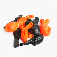 12 Halloween Black & Orange Latex Balloons - Helium Air Party Decoration Print