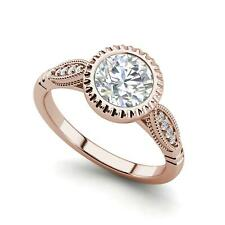Bazel Shared Prong 2.9 Carat SI1/D Round Cut Diamond Engagement Ring Rose Gold