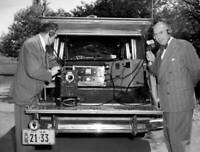 OLD CBS RADIO TV PHOTO Technical Field Equipment In Station Wagon 1