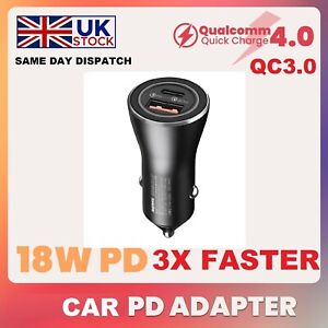 PD 36W Car Charger Quick Charge QC3.0 USB Type-C 5.1A for iPhone 12 11 Pro Max