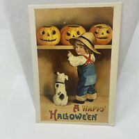 Postcard 1988 Happy Halloween Pumpkins Dog Greeting