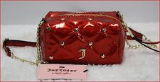 Juicy Couture Designer Quilted HEARTS Mini Crossbody Purse Bag - RED Poppy *NEW*