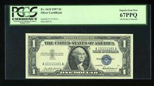 DBR 1957 Silver Superb Gem Fr. 1619 EA Block PCGS 67 PPQ 1/0 Binary # A11111101A