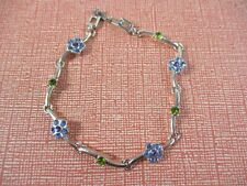 Pretty Blue RHINESTONE Flower Silvertone Link BRACELET 7 inches