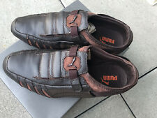 New Puma Men Leather Shoes Sneakers Brown Slip On 8 1/2 8.5