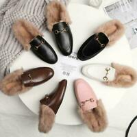 Womens Rabbit Fur Lined Casual New Mules Leather Horsebit Shoes Slippers Fashion