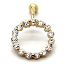 14K Yellow Gold Reverse Belly Ring, Cluster Loop with 16 2.5 mm CZ