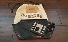 EUC Diesel 1978 Black Leather Clutch Geometric Clutch Metal Logo Rare Bag