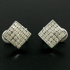 14k ORO BLANCO 1.50ctw 50 Redondo Diamante Cuadrado Multicanal Omega