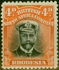 Rhodesia 1913 4d Black & Orange-Red SG211 Fine Mtd Mint